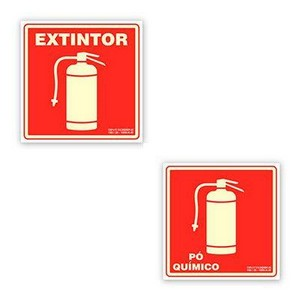 Placa extintor pó químico