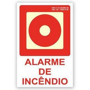 Placa indicativa de botoeira de alarme