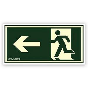 Placa sinalização de rota de fuga